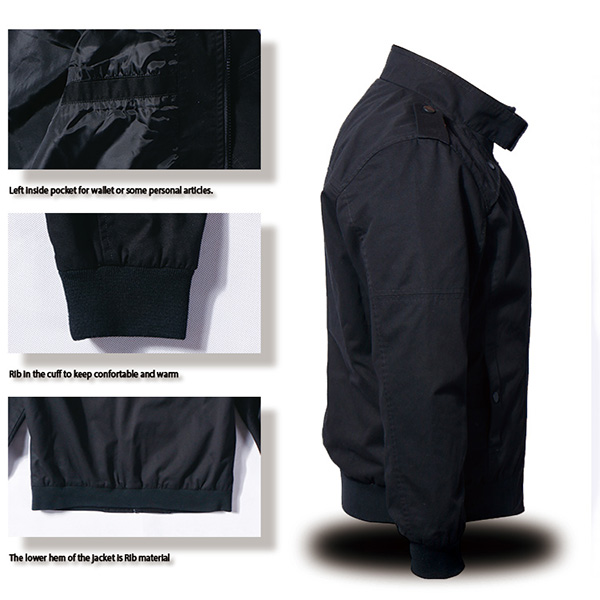 100% Cotton Black Military Tactical Jackets Soft Shell Windproof Washed
