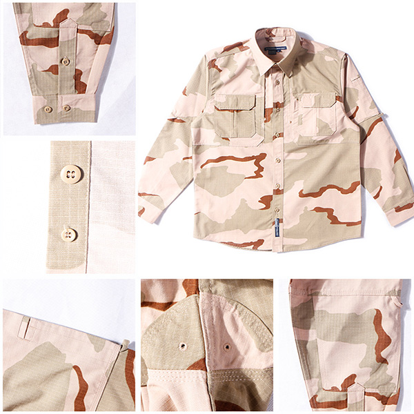 3 Color Desert Combat Tactical Shirt , Woodland Digital Law Enforcement Shirts