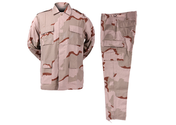 Ripstop / Twill Tactical Acu Uniform , 3 Color Desert Army Uniform,Military Camouflage Uniform