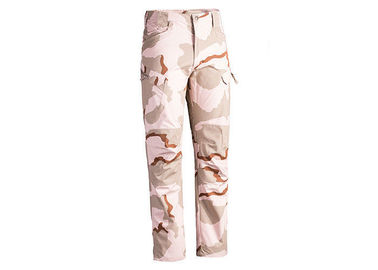 China Tri Color Desert Men's Tactical Cargo Pants with Back Pockets , Police Combat Trousers factory