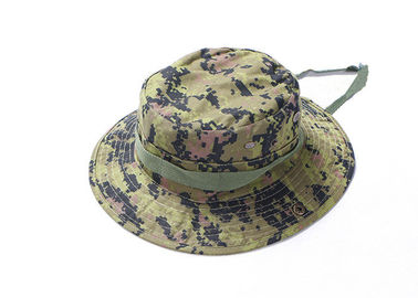 China Digital Green Army Tactical Cap , Ripstop Multicam Boonie Hat Adjustable String factory