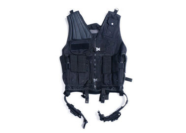 China Black Army Military Tactical Vest / Police Molle Load Bearing Vest For Security distributor