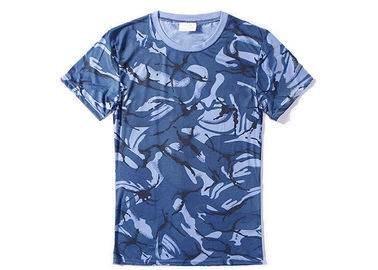 China Navy Blue Military Style T Shirts For Summer , Unisex Cool Army T Shirts Moisture Absorbing factory